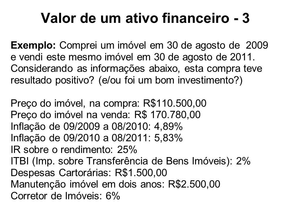 Valor de um ativo financeiro - 3 Exemplo: Comprei um imóvel em 30 de agosto de 2009 e vendi este mesmo imóvel em 30 de agosto de 2011.