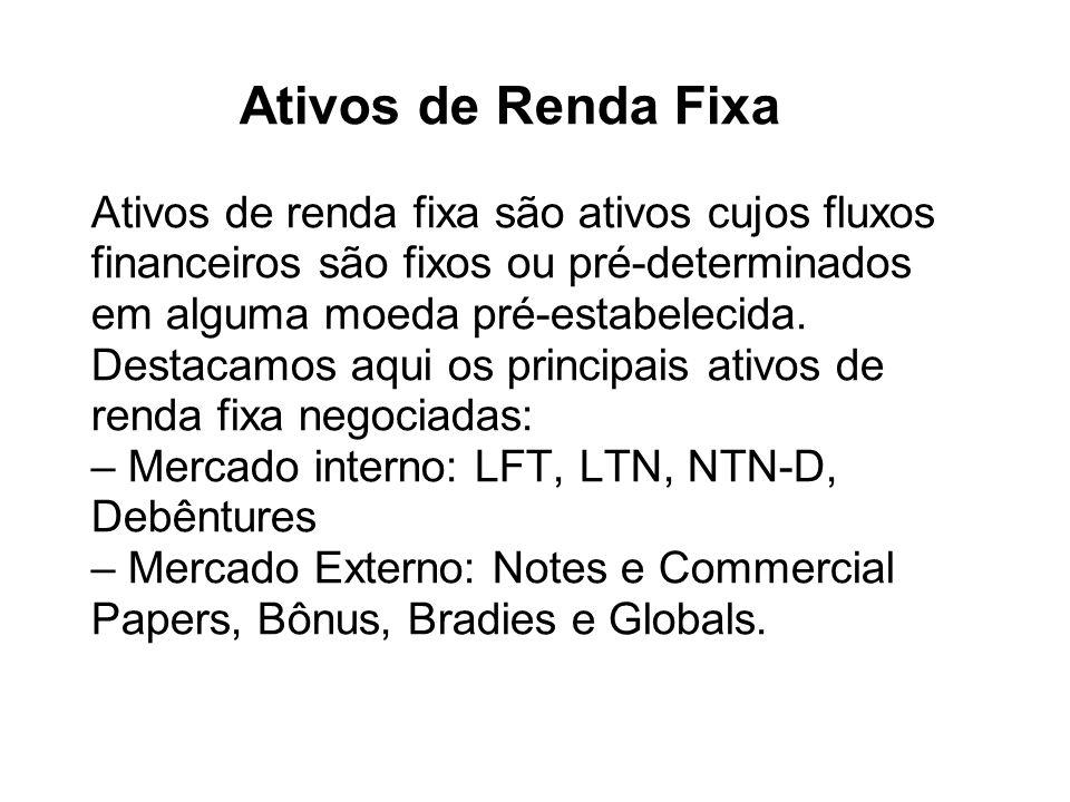 Ativos de Renda Fixa Ativos de renda fixa são ativos cujos fluxos financeiros são fixos ou pré-determinados em alguma moeda pré-estabelecida.