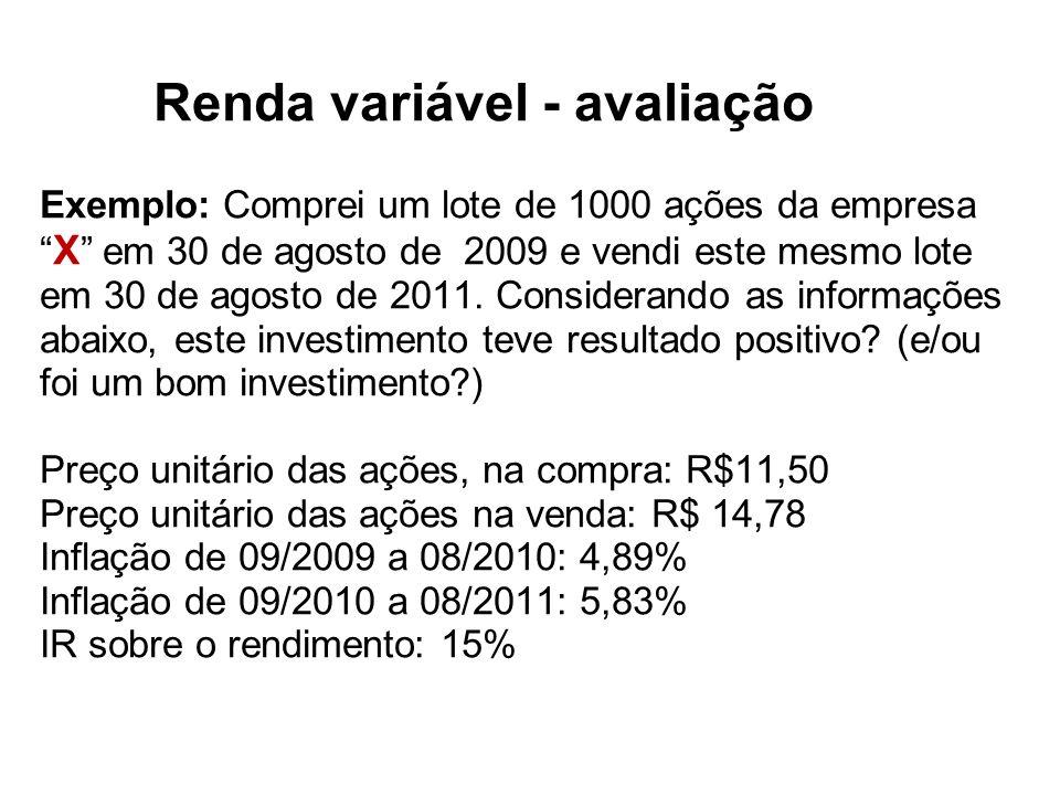 Renda variável - avaliação Exemplo: Comprei um lote de 1000 ações da empresa X em 30 de agosto de 2009 e vendi este mesmo lote em 30 de agosto de 2011.