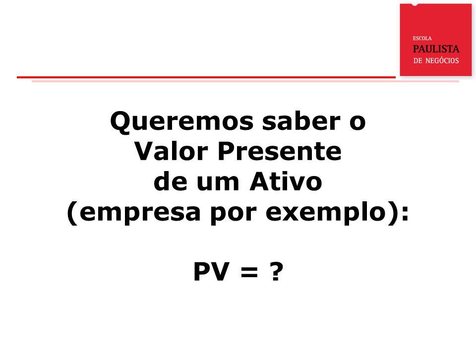 Queremos saber o Valor Presente de um Ativo (empresa por exemplo): PV =