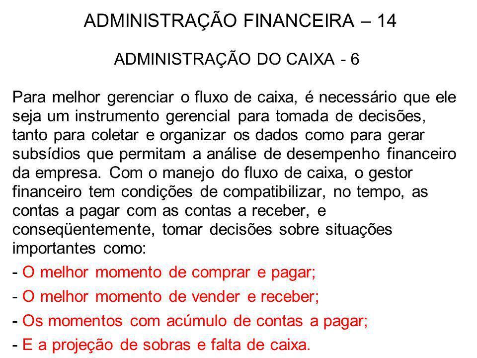 ADMINISTRAÇÃO FINANCEIRA – 14