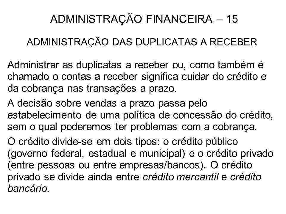 ADMINISTRAÇÃO FINANCEIRA – 15
