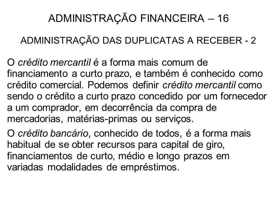 ADMINISTRAÇÃO FINANCEIRA – 16