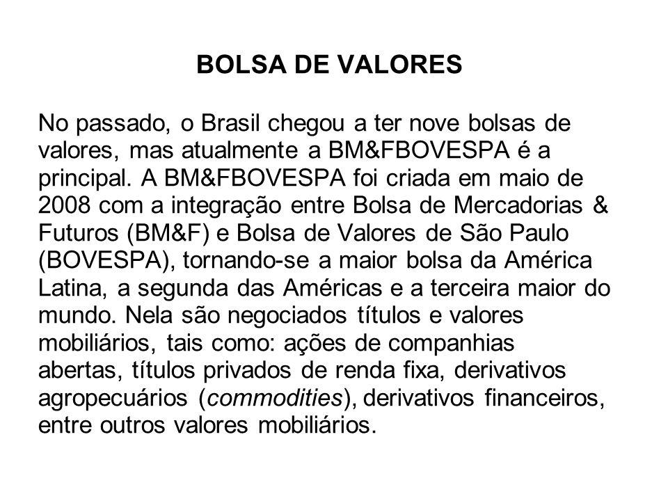 BOLSA DE VALORES No passado, o Brasil chegou a ter nove bolsas de valores, mas atualmente a BM&FBOVESPA é a principal.