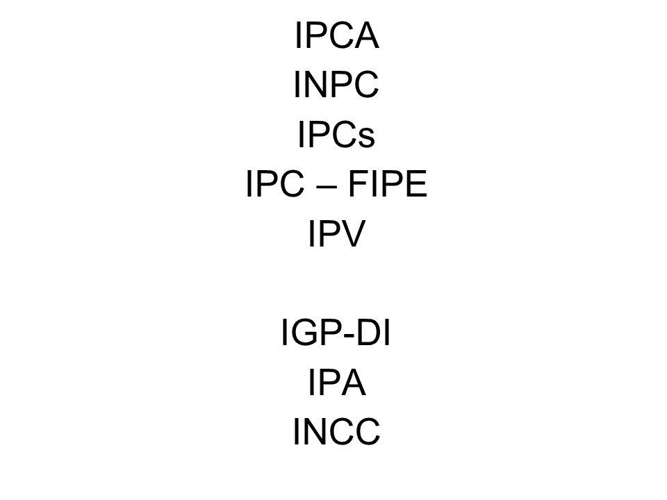 IPCA INPC IPCs IPC – FIPE IPV IGP-DI IPA INCC