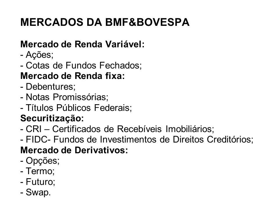 MERCADOS DA BMF&BOVESPA Mercado de Renda Variável: - Ações; - Cotas de Fundos Fechados; Mercado de Renda fixa: - Debentures; - Notas Promissórias; - Títulos Públicos Federais; Securitização: - CRI – Certificados de Recebíveis Imobiliários; - FIDC- Fundos de Investimentos de Direitos Creditórios; Mercado de Derivativos: - Opções; - Termo; - Futuro; - Swap.