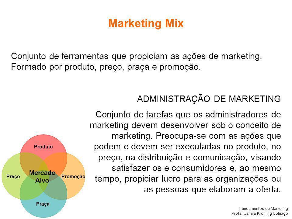 Marketing Mix Conjunto de ferramentas que propiciam as ações de marketing. Formado por produto, preço, praça e promoção.