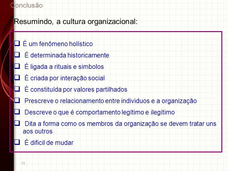 Resumindo, a cultura organizacional: