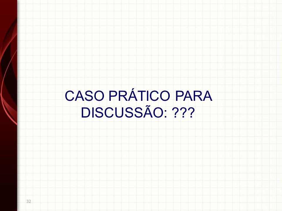 CASO PRÁTICO PARA DISCUSSÃO: