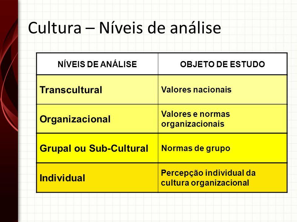 Cultura – Níveis de análise