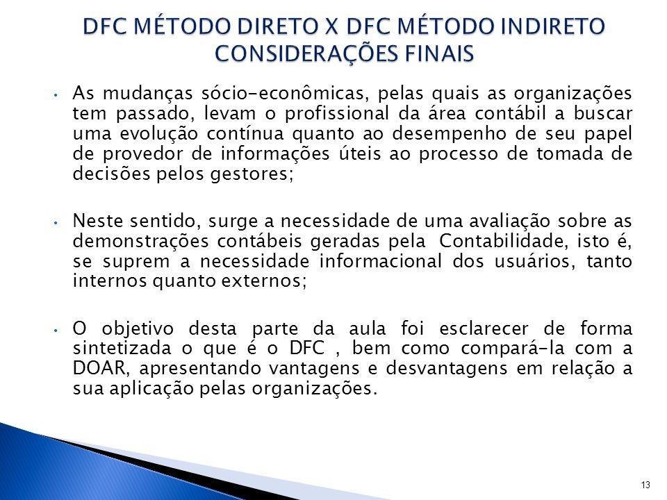 DFC MÉTODO DIRETO X DFC MÉTODO INDIRETO CONSIDERAÇÕES FINAIS