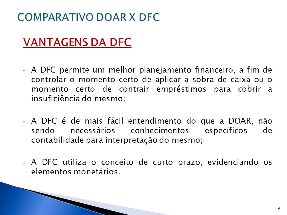 VANTAGENS DA DFC COMPARATIVO DOAR X DFC