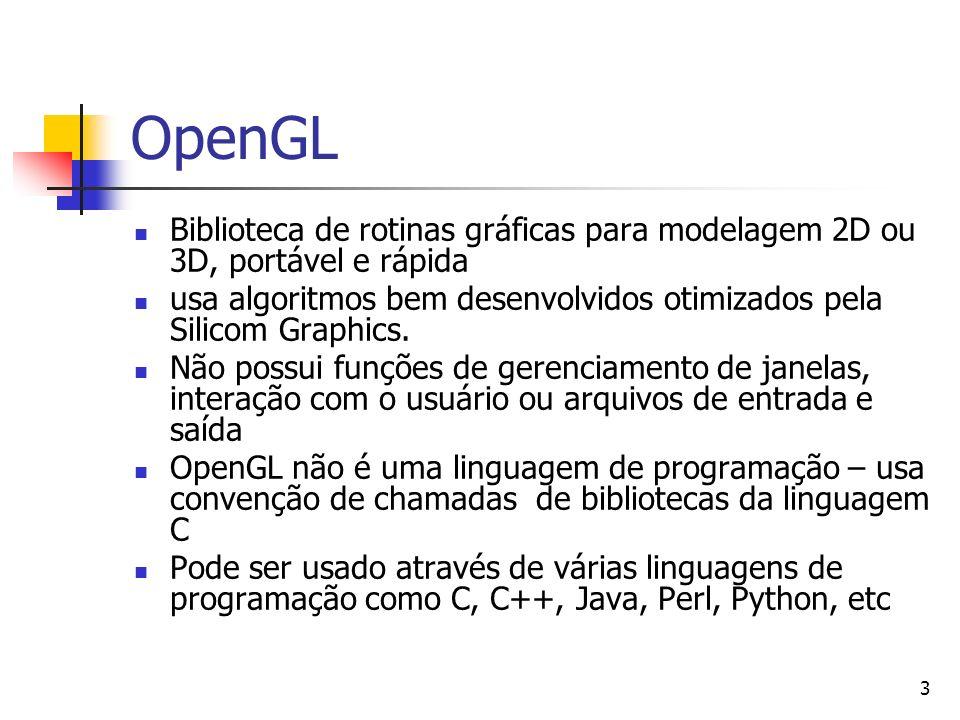 OpenGLBiblioteca de rotinas gráficas para modelagem 2D ou 3D, portável e rápida. usa algoritmos bem desenvolvidos otimizados pela Silicom Graphics.
