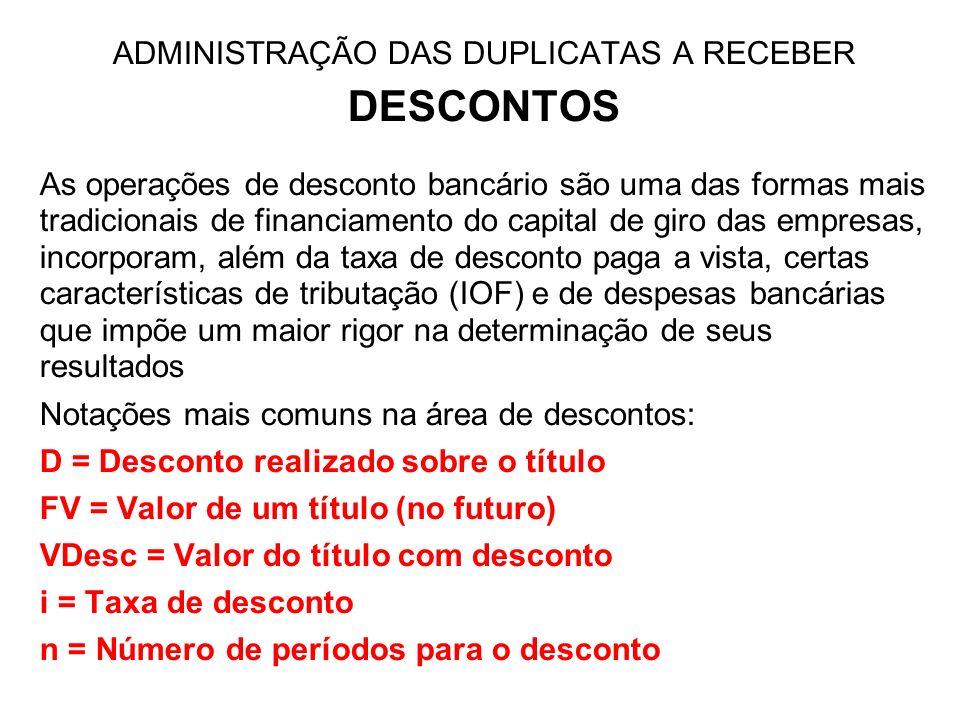 ADMINISTRAÇÃO DAS DUPLICATAS A RECEBER