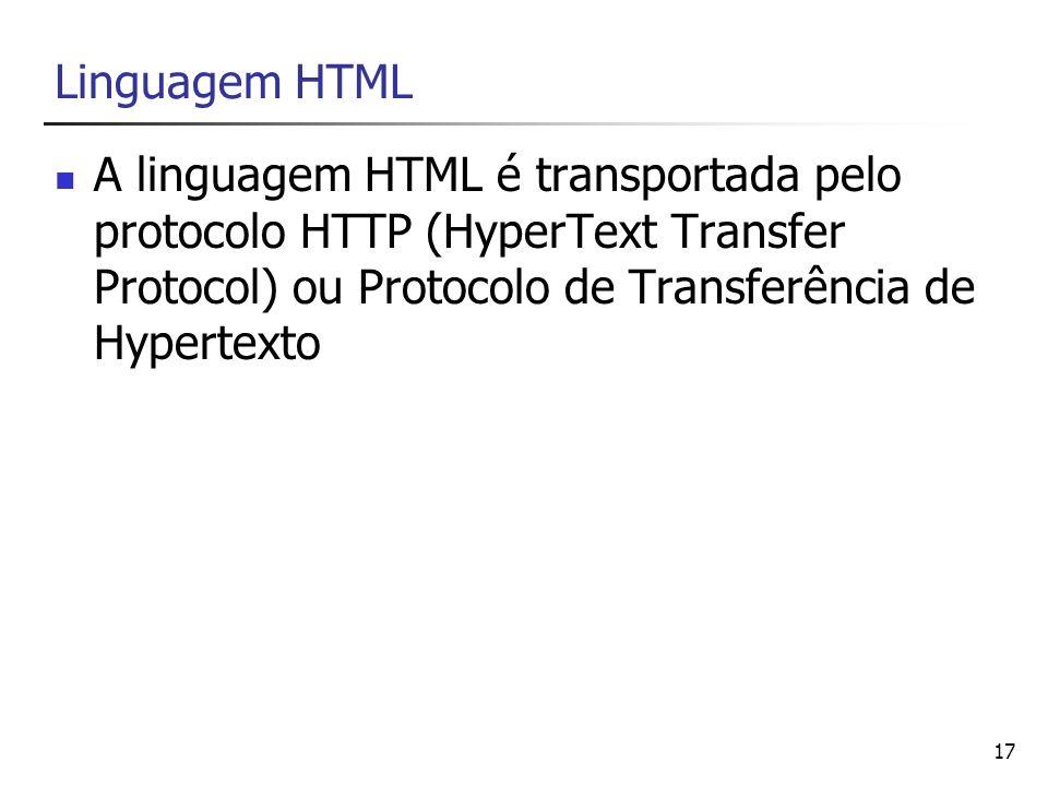 Linguagem HTML A linguagem HTML é transportada pelo protocolo HTTP (HyperText Transfer Protocol) ou Protocolo de Transferência de Hypertexto.