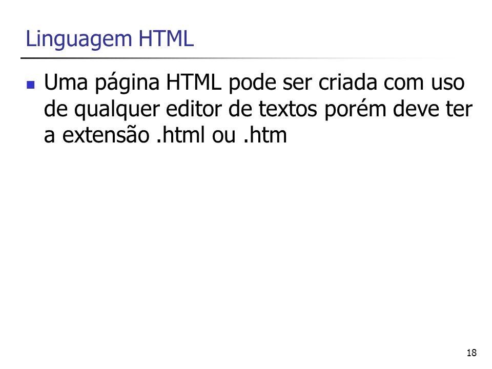Linguagem HTML Uma página HTML pode ser criada com uso de qualquer editor de textos porém deve ter a extensão .html ou .htm.