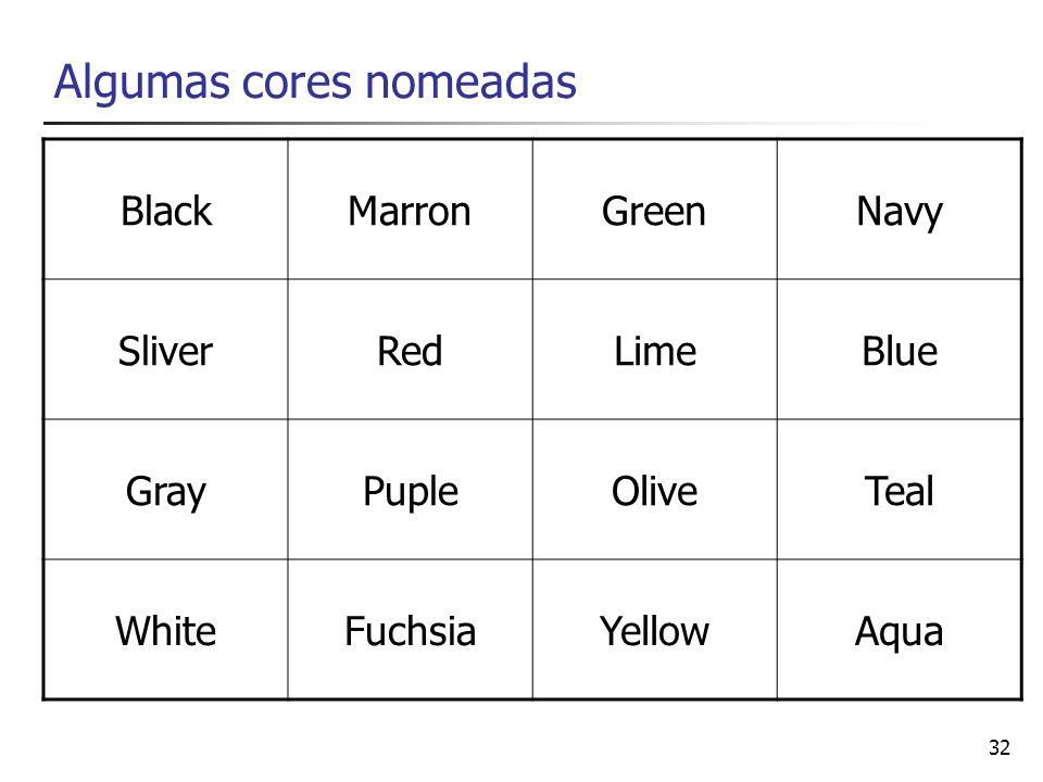 Algumas cores nomeadas
