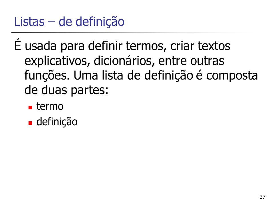 Listas – de definição