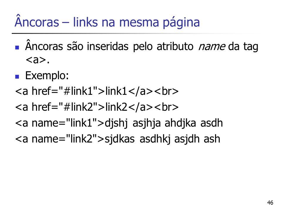 Âncoras – links na mesma página