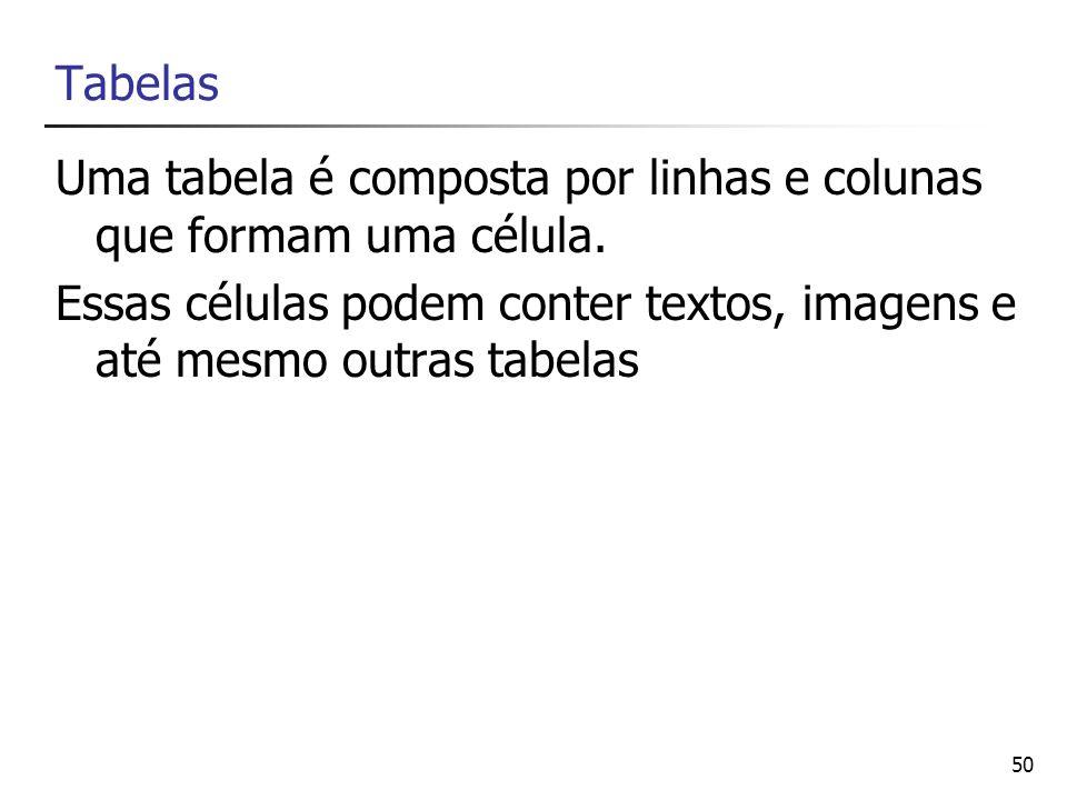 Uma tabela é composta por linhas e colunas que formam uma célula.