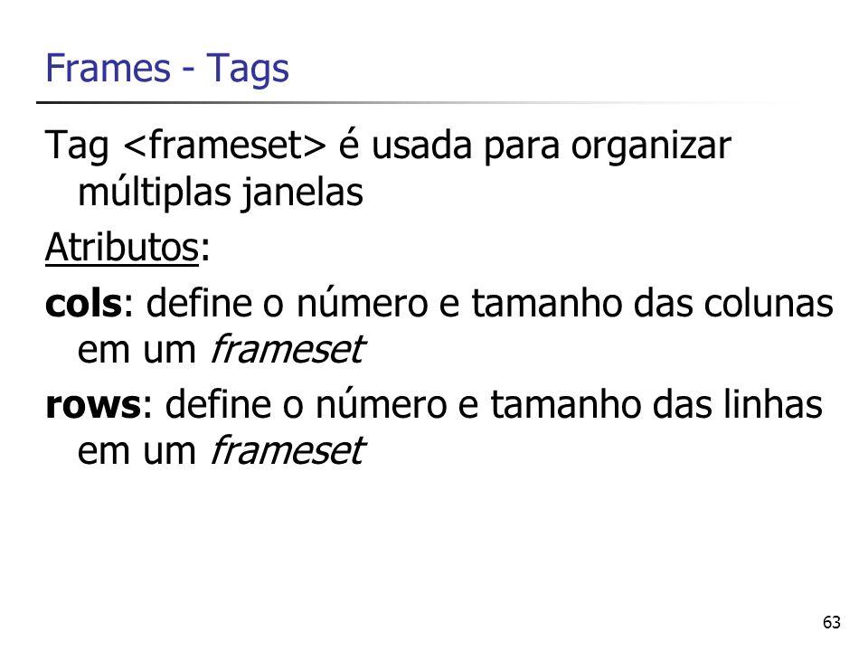 Frames - Tags Tag <frameset> é usada para organizar múltiplas janelas. Atributos: cols: define o número e tamanho das colunas em um frameset.