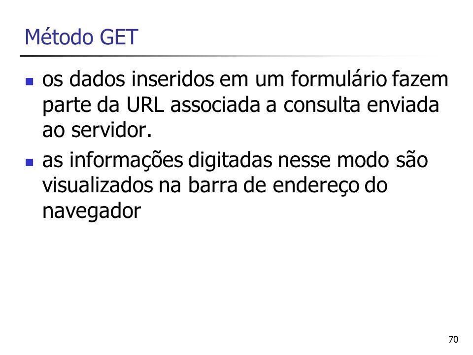 Método GET os dados inseridos em um formulário fazem parte da URL associada a consulta enviada ao servidor.