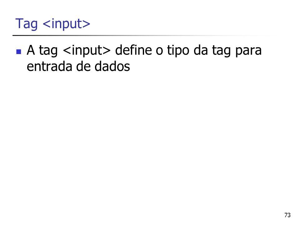 Tag <input> A tag <input> define o tipo da tag para entrada de dados