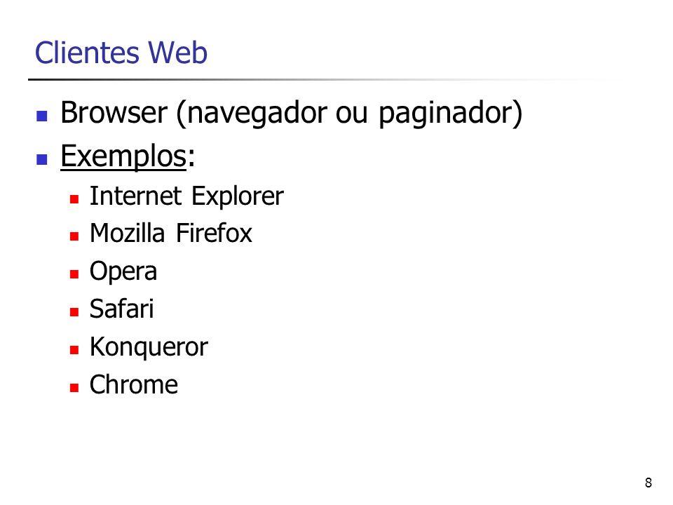 Browser (navegador ou paginador) Exemplos: