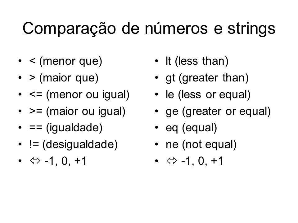 Comparação de números e strings