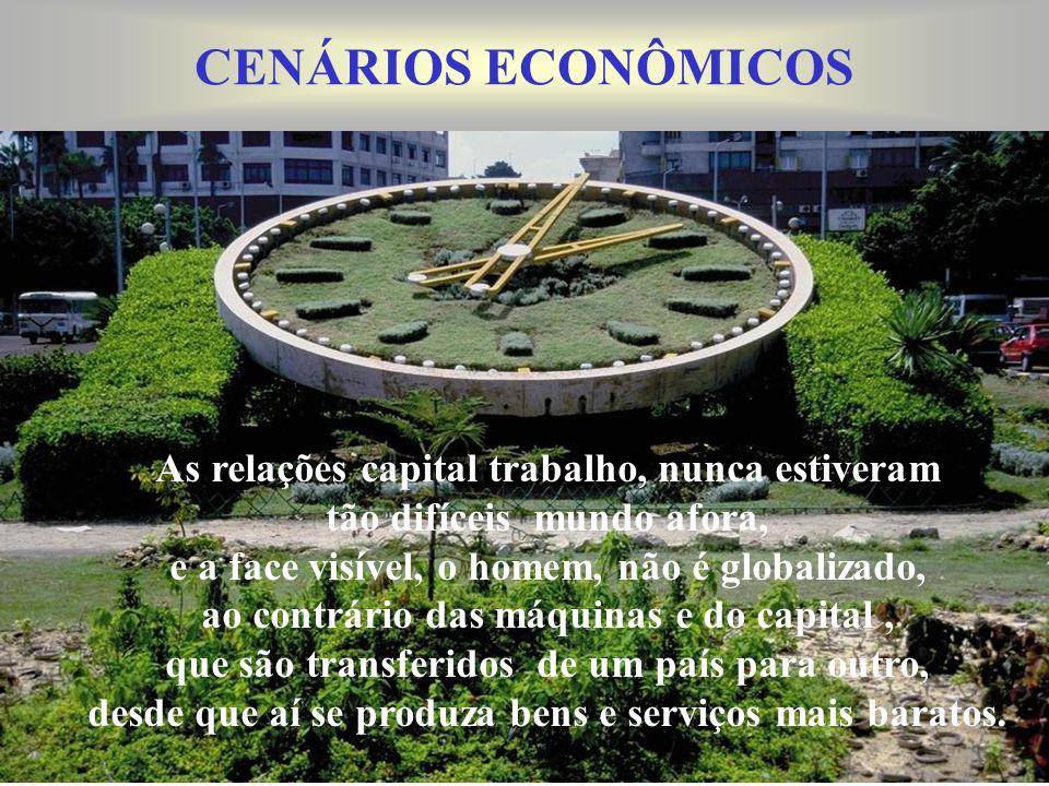 CENÁRIOS ECONÔMICOS As relações capital trabalho, nunca estiveram