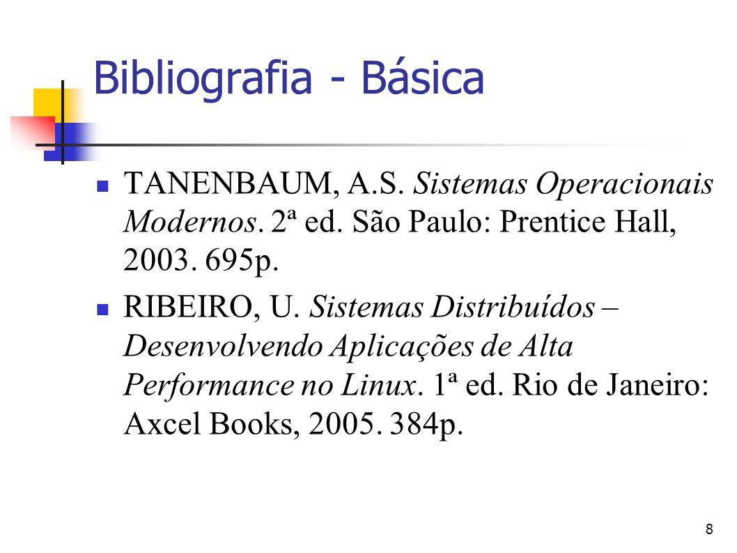 Bibliografia - Básica TANENBAUM, A.S. Sistemas Operacionais Modernos. 2ª ed. São Paulo: Prentice Hall, 2003. 695p.