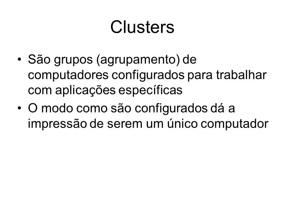 Clusters São grupos (agrupamento) de computadores configurados para trabalhar com aplicações específicas.