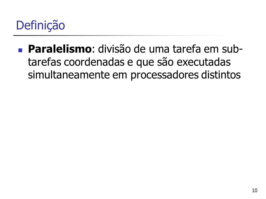 Definição Paralelismo: divisão de uma tarefa em sub-tarefas coordenadas e que são executadas simultaneamente em processadores distintos.