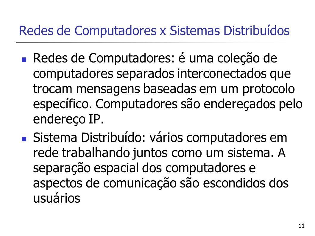 Redes de Computadores x Sistemas Distribuídos