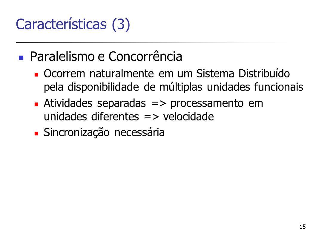 Características (3) Paralelismo e Concorrência