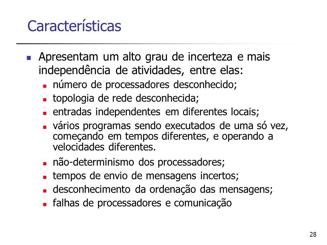Características Apresentam um alto grau de incerteza e mais independência de atividades, entre elas: