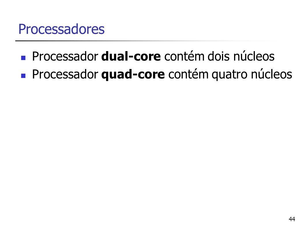 Processadores Processador dual-core contém dois núcleos