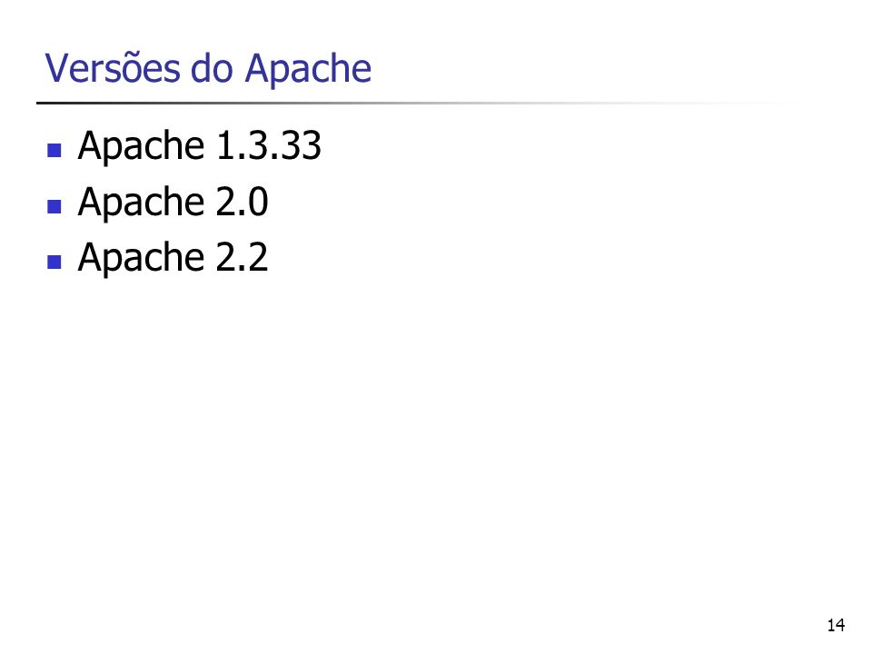 Versões do Apache Apache 1.3.33 Apache 2.0 Apache 2.2