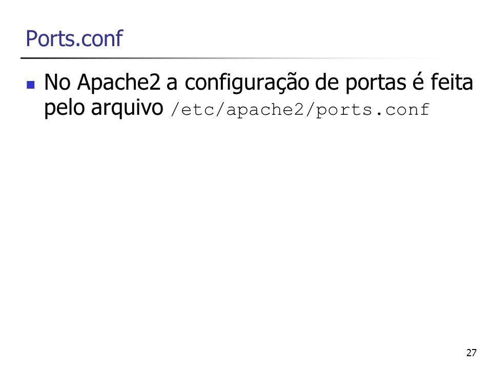 Ports.conf No Apache2 a configuração de portas é feita pelo arquivo /etc/apache2/ports.conf