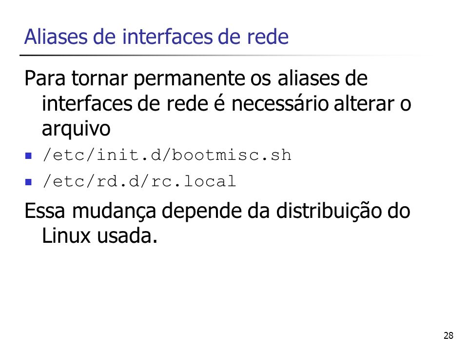 Aliases de interfaces de rede