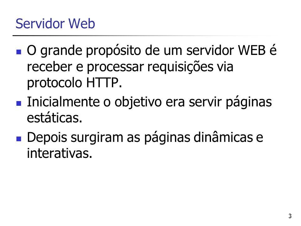 Servidor Web O grande propósito de um servidor WEB é receber e processar requisições via protocolo HTTP.