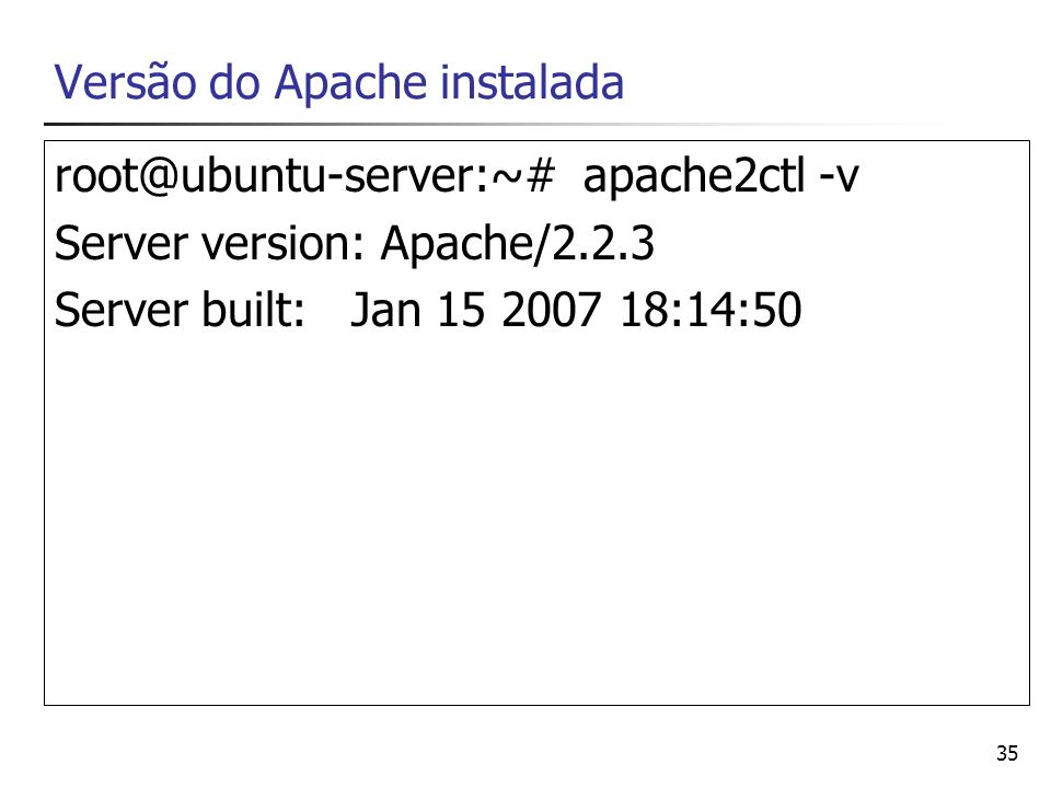 Versão do Apache instalada