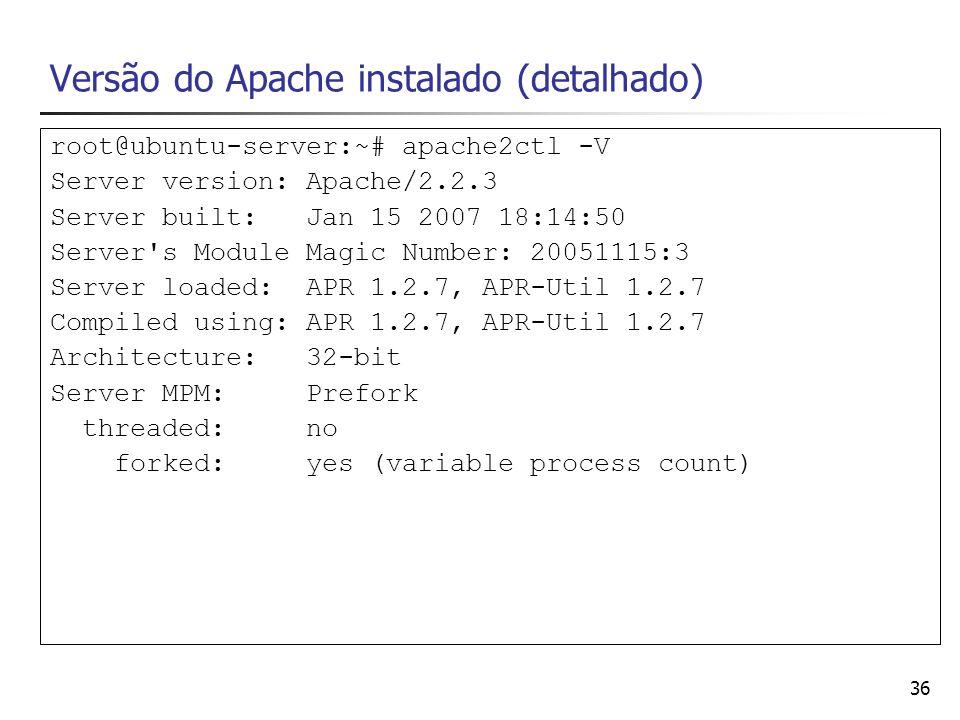 Versão do Apache instalado (detalhado)