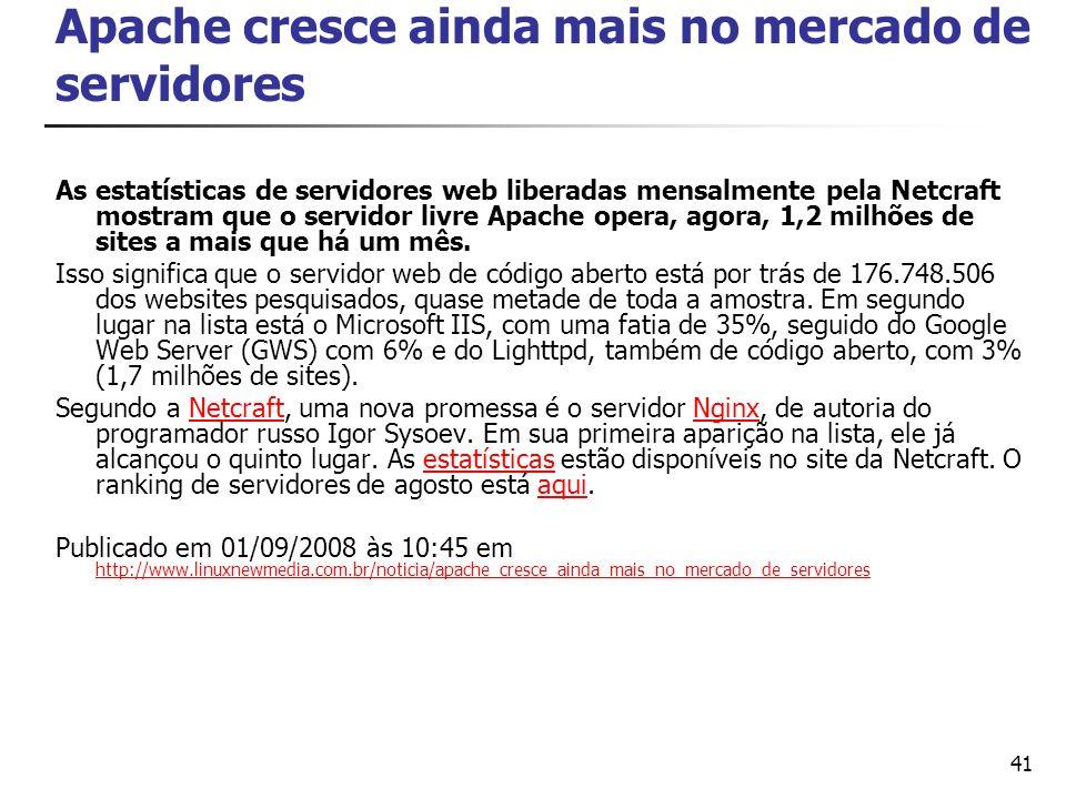 Apache cresce ainda mais no mercado de servidores