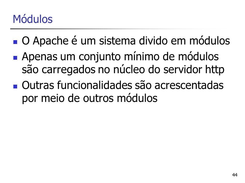 O Apache é um sistema divido em módulos