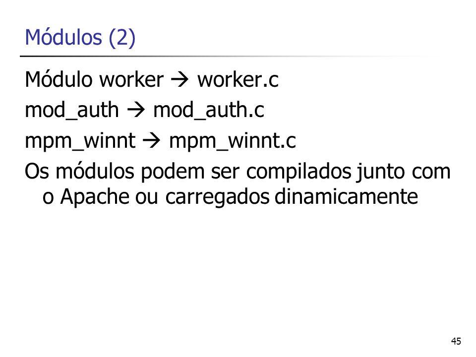 Módulos (2)Módulo worker  worker.c. mod_auth  mod_auth.c. mpm_winnt  mpm_winnt.c.
