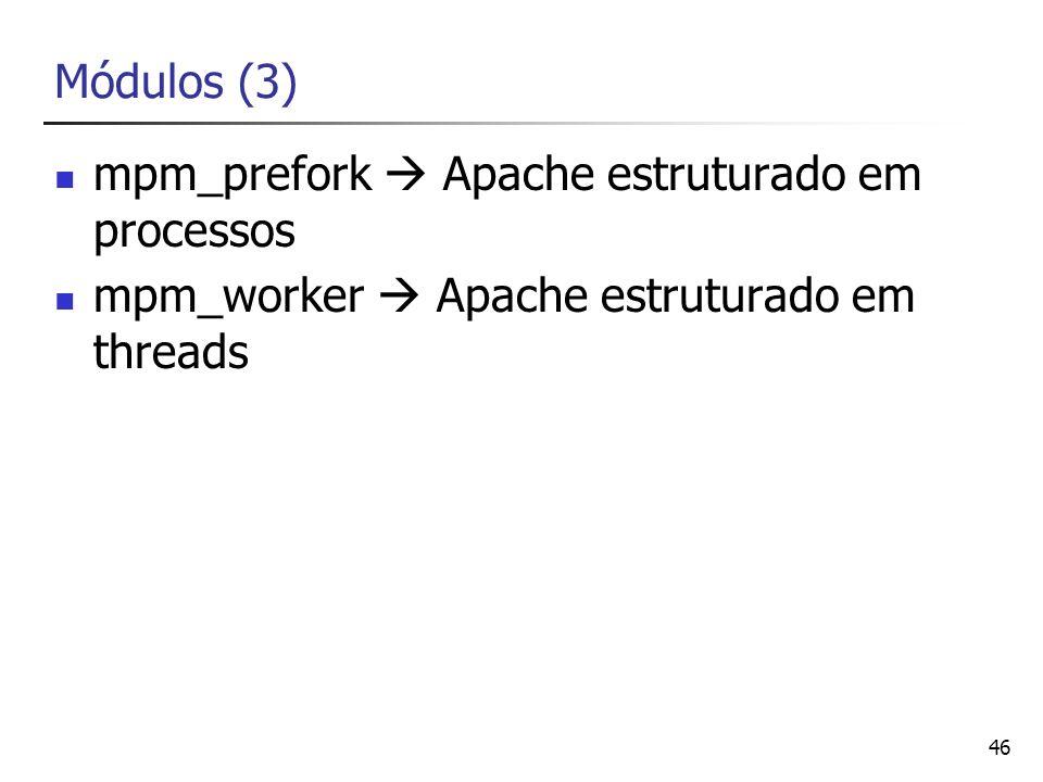 Módulos (3)mpm_prefork  Apache estruturado em processos.