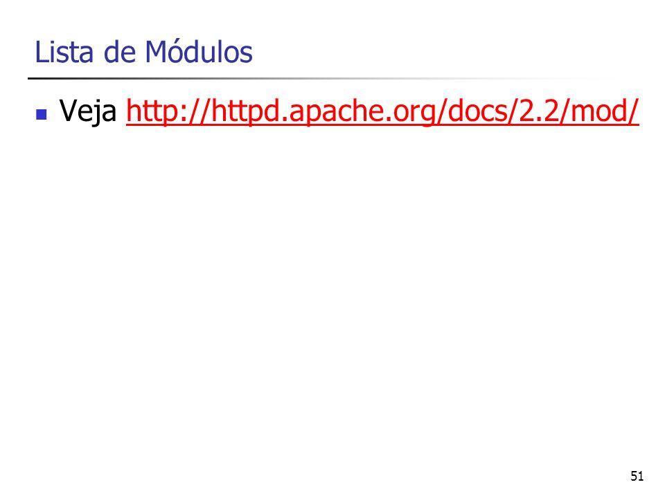 Lista de Módulos Veja http://httpd.apache.org/docs/2.2/mod/