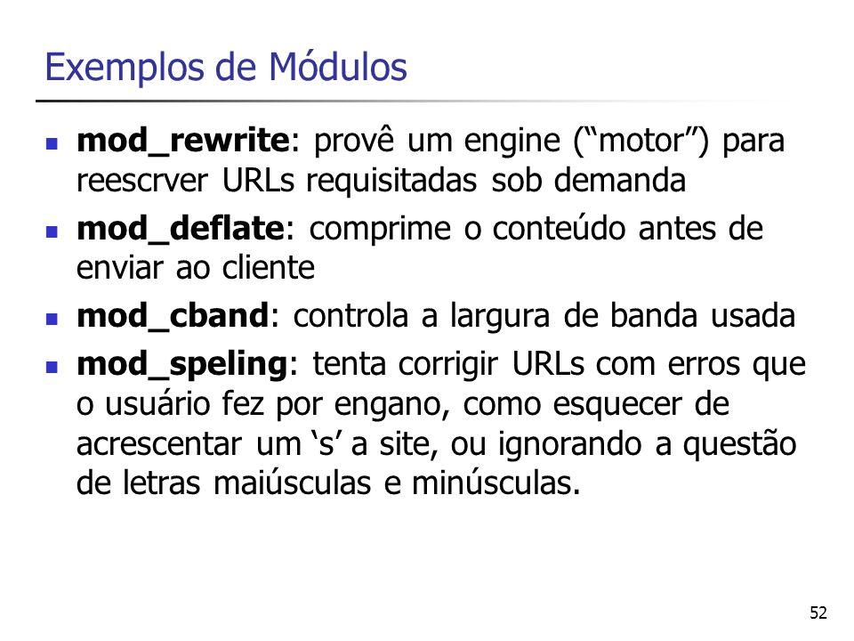 Exemplos de Módulos mod_rewrite: provê um engine ( motor ) para reescrver URLs requisitadas sob demanda.