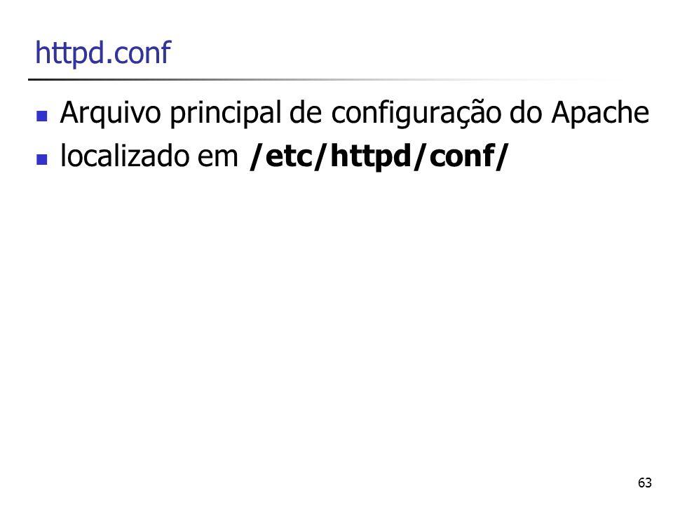 httpd.conf Arquivo principal de configuração do Apache localizado em /etc/httpd/conf/